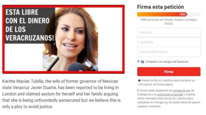 Lanzan solicitud para que Reino Unido niegue asilo político a Karime Macías