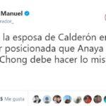 Hace bien Margarita Zavala al rebelarse, lo mismo debe hacer Chong: AMLO