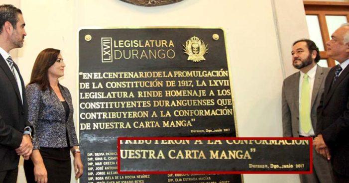 Develan en Durango placa que conmemora la 'Carta MANGA'