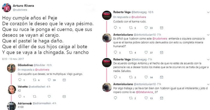 El Rudo Rivera le desea sólo cosas malas a AMLO y lo tunden en redes