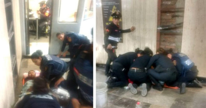 Mujeres policía auxiliaron a mujer que dio a luz en el metro