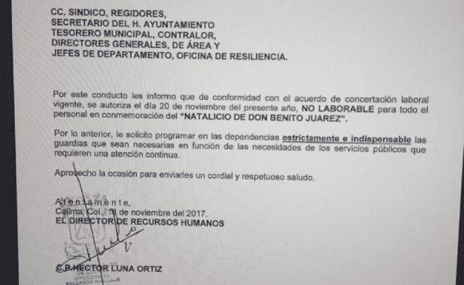 En Colima, el ayuntamiento confunde la Revolución con el natalicio de Benito Juárez