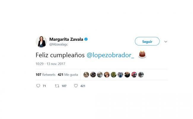 Margarita Zavala y políticos felicitan a AMLO por su cumpleaños