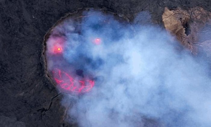 Capta curiosa imagen de volcán 'sonriente'