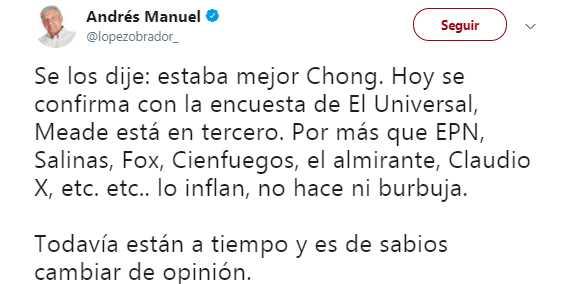 'Por más que Peña, Salinas y Fox inflan a Meade no hace ni burbuja': AMLO