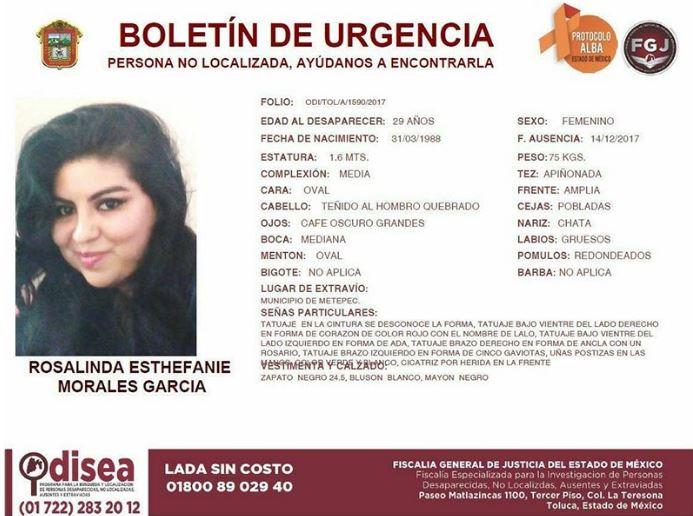 Rosalinda subió a un taxi en Metepec, el chofer no la dejó bajar y no la volvieron a ver