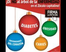 Exigen que se retire publicidad de Coca Cola del árbol de Navidad del Zócalo por causar diabetes