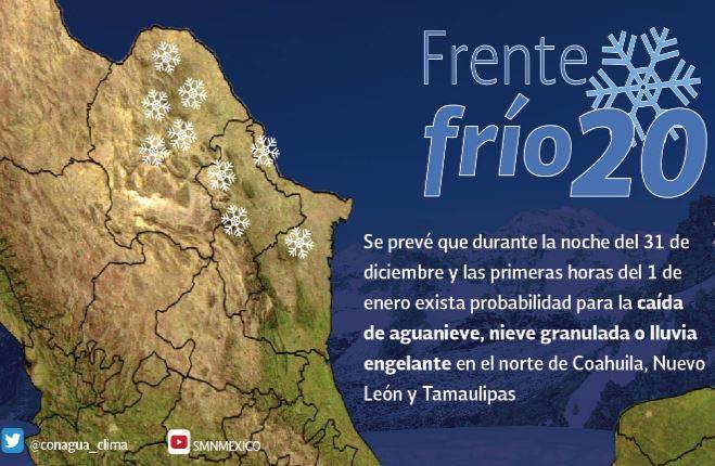 Año nuevo llegará con descenso en temperatura por frente frío 20