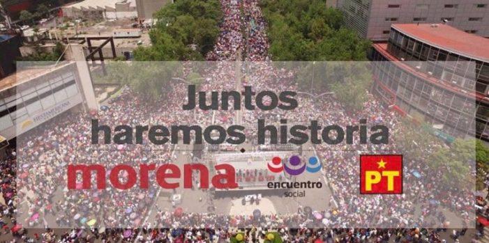 Morena, PES y PT registran coalición 'Juntos Haremos Historia' ante el INE