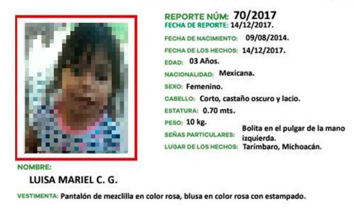 Localizan muerta a niña de 3 años reportada como desaparecida, estaba en casa del padrastro