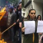 Diana Sánchez Barrios y seguidores se van del PRD, queman banderas (Videos)