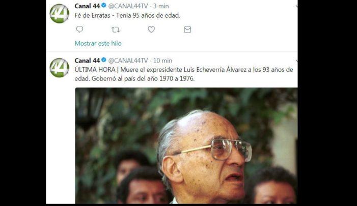 Desmienten muerte del expresidente Luis Echeverría