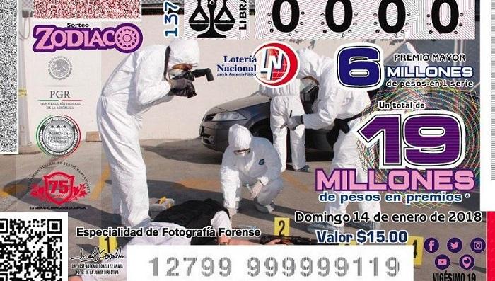 Causa polémica cachito de lotería con 'escena del crimen'