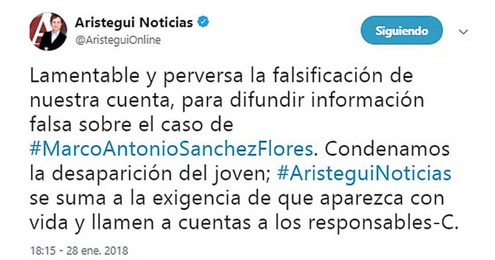 Usaron cuenta falsa de Aristegui para denostar a joven Marco Antonio