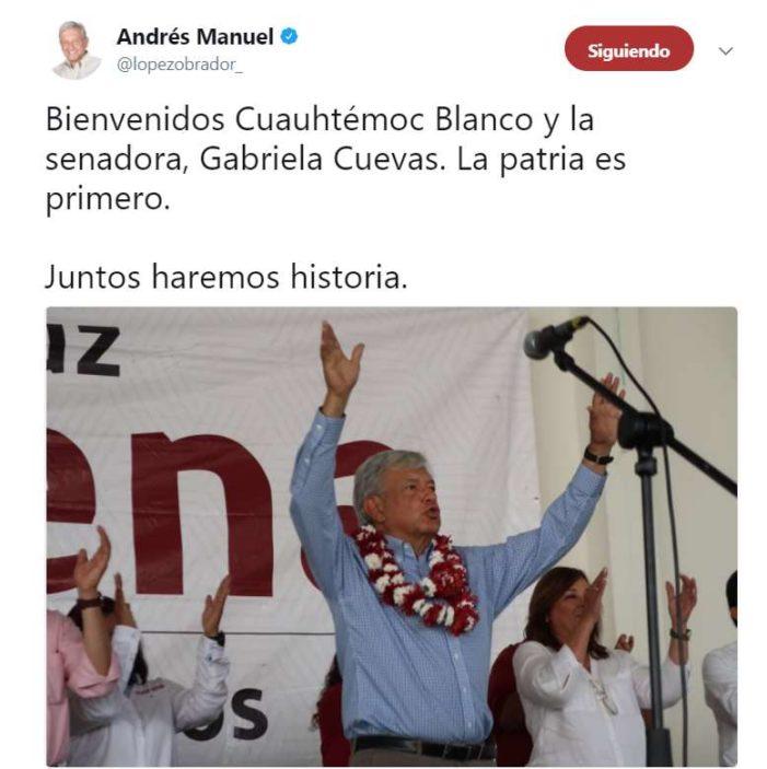 López Obrador da la bievenida Cuauhtémoc Blanco y Gabriela Cuevas en Morena