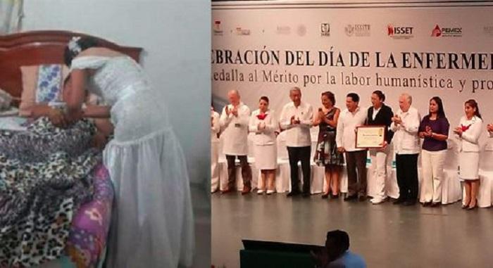 Enfermera que salió de su boda para atender a un paciente fue reconocida en Tabasco