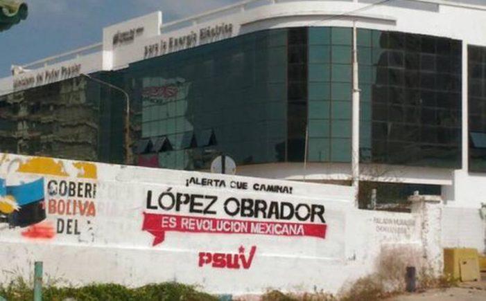 Partido de Venezuela se deslinda de las pintas de supuesto 'apoyo' a AMLO