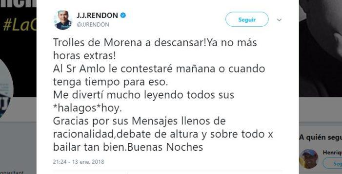 J.J Rendón critica a seguidores de Morena y anuncia que debatirá con AMLO 'mañana o cuando tenga tiempo'