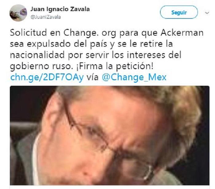 Hermano de Margarita Zavala promueve petición para sacar a Ackerman de México