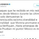 J.J. Rendón llama intolerantes, racistas e irracionales a simpatizantes de Morena