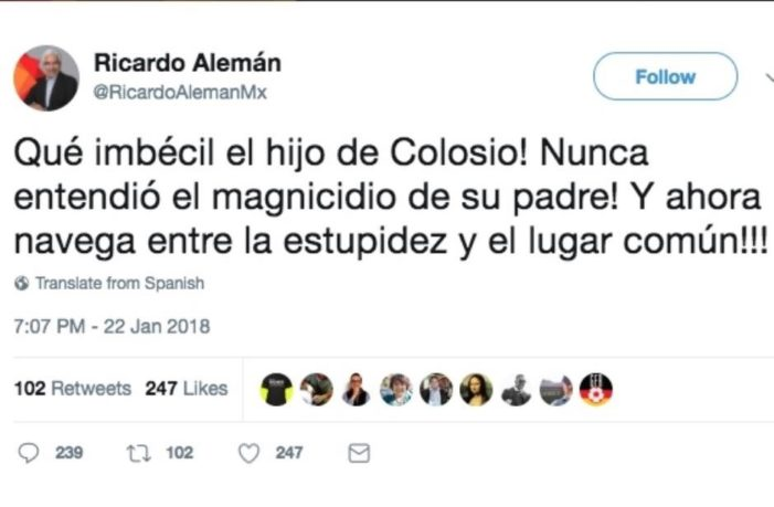 Tunden en redes a Ricardo Alemán por insultar a hijo de Colosio
