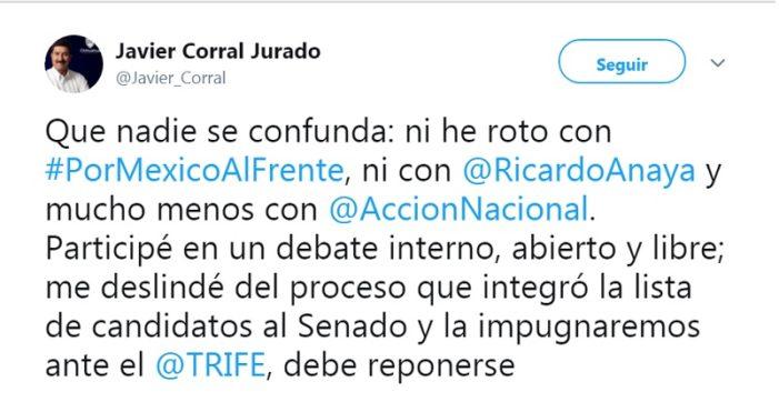 """Javier Corral niega deslinde con PAN """"Que nadie se confunda"""""""