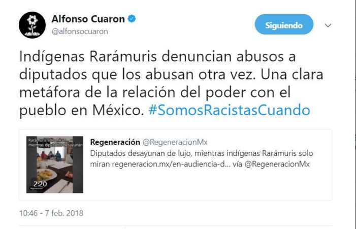 Alfonso Cuarón crítica discriminación de Diputados con indígenas rarámuris