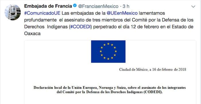 Embajadores de la Unión Europea condena asesinatos de defensores indígenas en Oaxaca
