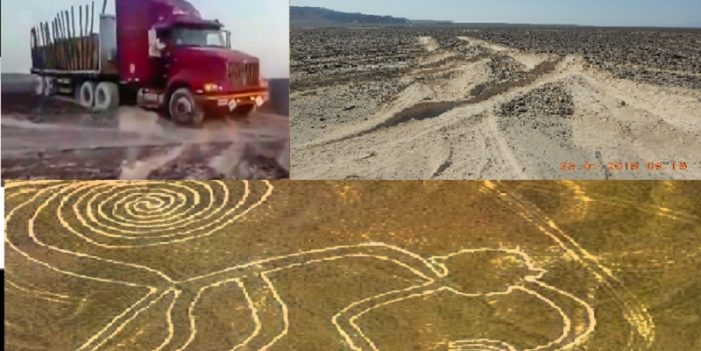Camionero daña milenarias figuras de Nasca, en Perú