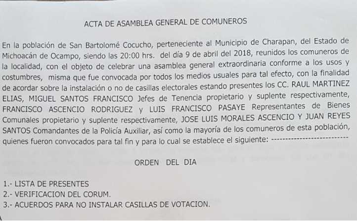 Comunidad indígena Cocucho no permitirá instalación de casillas electorales: Consejo Supremo