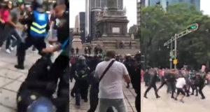 Policía dispersa con violencia a aficionados en el Ángel; 3 detenidos