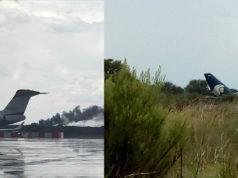 Se desploma avión a minutos de despegar en Durango, reportan 80 heridos