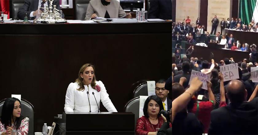 LXIV Legislatura_ Conteo por los 43 enmudece discurso priista de Claudia Ruiz Massieu