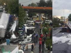 Se abre socavón en Ciudad de México y cae un tráiler dentro (videos imágenes)
