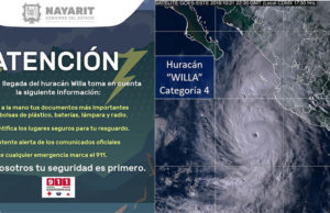 Alerta en estados del Pacífico por huracán Willa; podría llegar a categoría 5