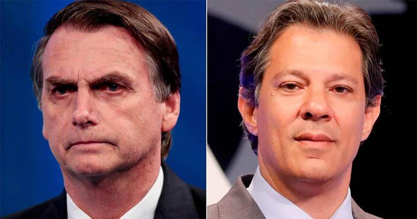 Habría segunda vuelta en elección presidencial de Brasil entre Haddad y Bolsonaro; éste lleva ventaja
