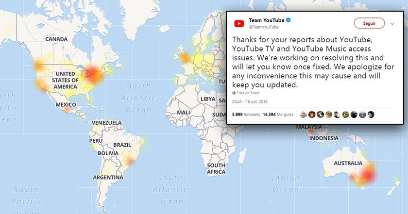 YouTube confirma caída del servicio a nivel global