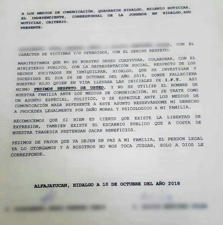 Familia de fallecido otorga perdón a diputado que chocó en Hidalgo; pide a medios que dejen de sacar provecho
