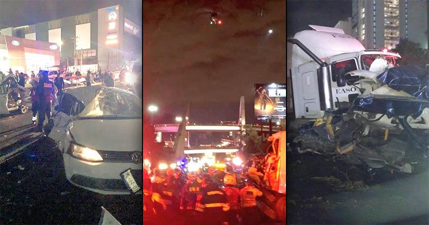 Mueren 7 en la México-Toluca; tráiler embistió 15 vehículos (videos, imágenes)