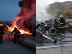 Paran tránsito por pipa de gasolina que se incendió en Autopista del Sol