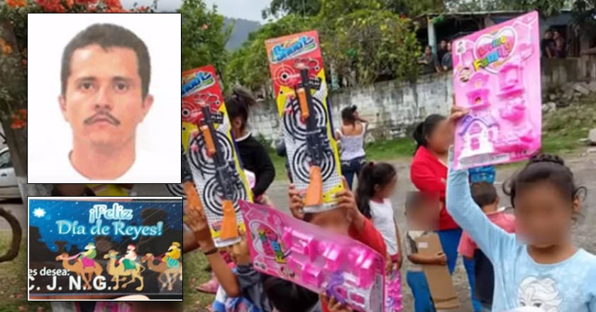 Sicarios del CJNG reparten juguetes por Reyes a nombre del Mencho