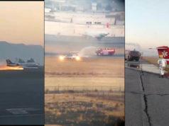 Avión sale de pista y se incendia en el Aeropuerto de Toluca (Videos)