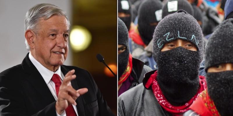 AMLO en discurso, zapatista del EZLN con capucha