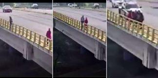 Una mujer evita que un hombre se aviente al vacío en Jalisco (VIDEO)