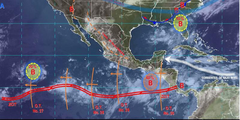 Se prevén lluvias puntuales intensas en Chiapas y Oaxaca