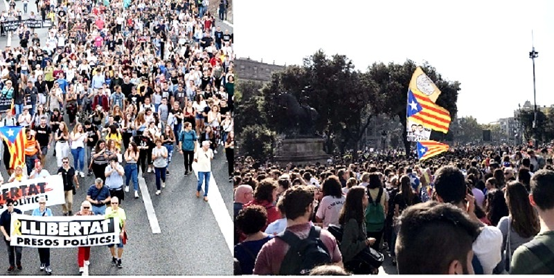 Cataluña se moviliza contra condenas