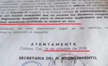 Colima, Alcalde de MC prohíbe música viva