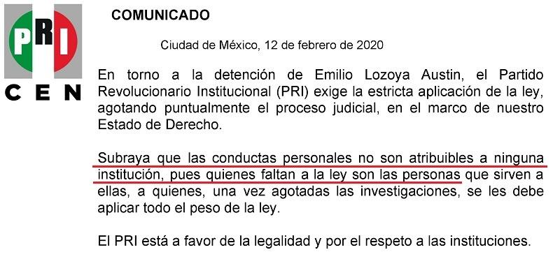 PRI se deslinda de ex director de Pemex