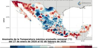 Conagua: anomalía de la temperatura máxima promedio
