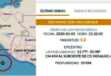 Temblor en Chiapas, 1 febrero 2020